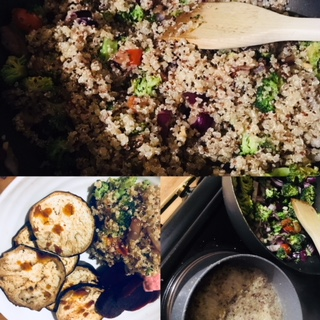 Warm Quinoa tabouleh and roasted aubergine
