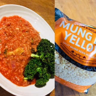 Split Mung Bean Stew with Roasted Kale